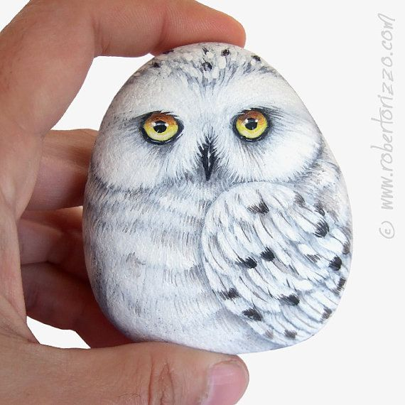 An Elegant Snowy Owl Hand Painted on a Sea Rock! A Unique Piece of Art and a great Gift Idea for all of you, Owl Lovers! Just ONE available! #snowyowl #owlart #owls #paintedrocks