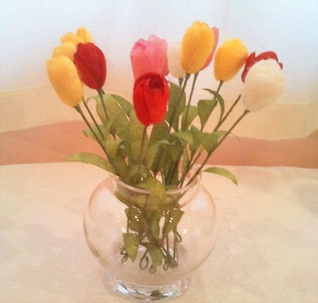 lale, tulip, ipek, ipek böcekciliği, ipek kozası, koza çiçeği, ipek kozasından çiçek, silk, silk cocoon, silk flower, ipek el sanatları, www.ipekelsanatlari.com