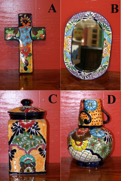Mexican Pottery | Talavera Pottery | Talavera Style Cross, Mirror, Canister or Pitcher