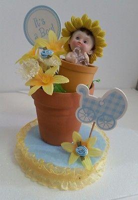 FLOWER POT BOY BABY SHOWER CAKE TOPPER BIRTHDAY CENTERPIECE FIGURINE DECORATION