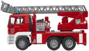 Bruder MAN Fire Engine The ladder extends and retracts, the hose actually can shoot water (a feature that is extremely hard to find). http://bit.ly/1ECAVOd