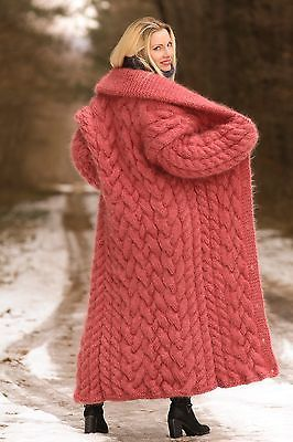 PASTEL-RED-Hand-Knit-Mohair-Coat-Thick-Long-Fuzzy-Cardigan-by-SUPERTANYA-M-L