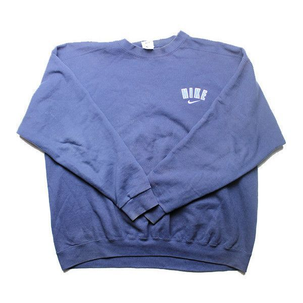 90s Vintage Nike Air Crewneck Sweatshirt ($20) ❤ liked on Polyvore featuring tops, hoodies, sweatshirts, sweaters, shirts, jumpers, blue shirt, nike shirts, vintage tops e vintage shirts