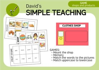 With this simple material you can play lots of games!Download the Free Bilingual Toy Shop Game - Juego de la JugueteraGratis to get a full Toy Shop Game for free and if you like it, come back here to get the full pack with all the shops!Here are the games I usually play with this material:- Put the correct word sign in the shop facade.- Put the correct cards in the window store.- Matching words with pictures.- Play a memory game.- Matching uppercase to lowercase.- Order the picture cards…