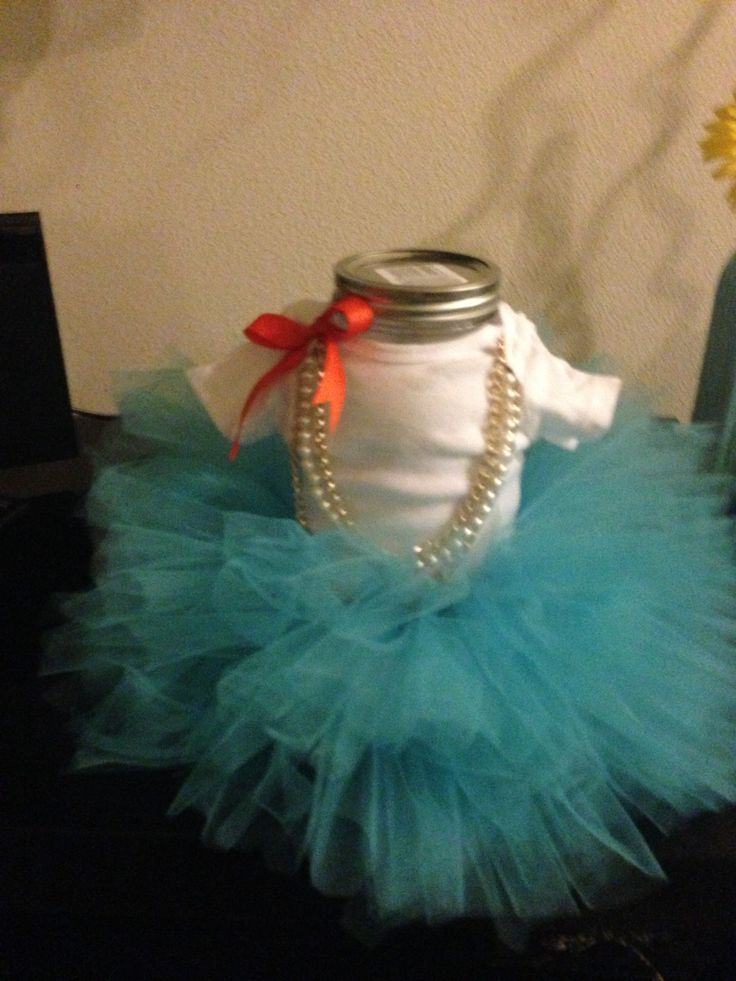 Baby Ballerina Cover A Mason Jar With Onesie And Tulle Covered Elastic For  A Mini Tutu ! It Took Me 45 Minutes But Served As A Centerpiece And Gift.