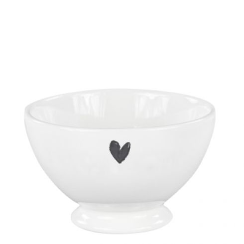 Bowl White with heart debossed in black