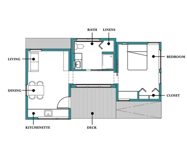 Modern Style House Plan - 1 Beds 1 Baths 538 Sq/Ft Plan #507-1 Floor Plan - Main Floor Plan - Houseplans.com
