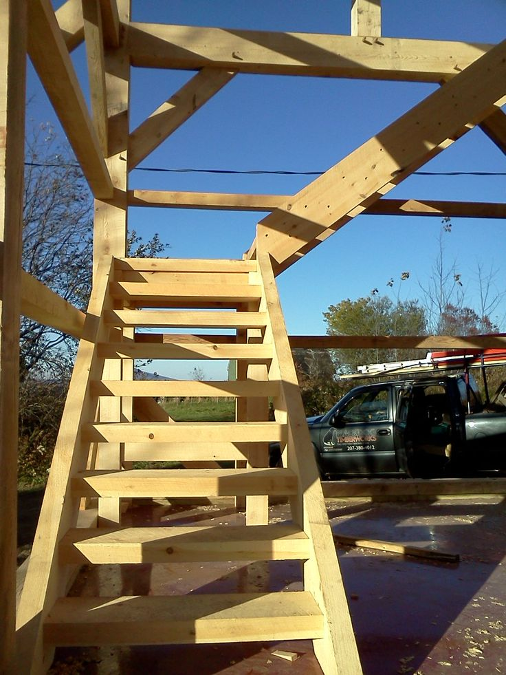 Custom Timber Stairs For Timber Frame Barn By Black Dog
