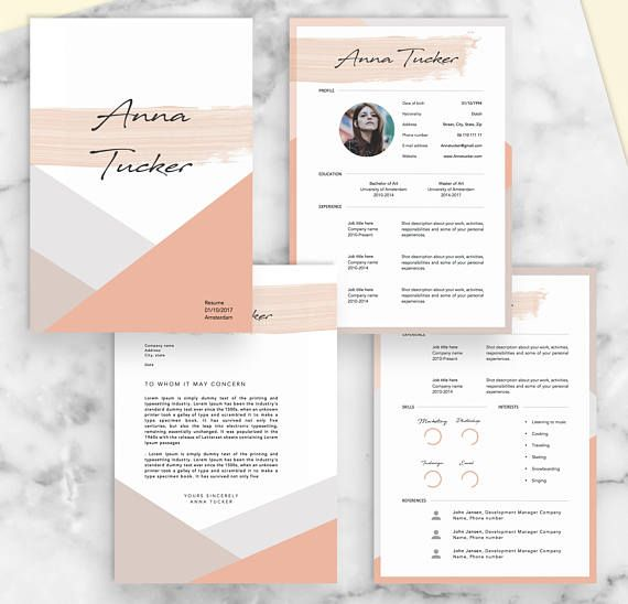 4 Page Modern Resume Template Cv Template Professional And Etsy Modern Resume Template Resume Design Creative Cv Template Professional