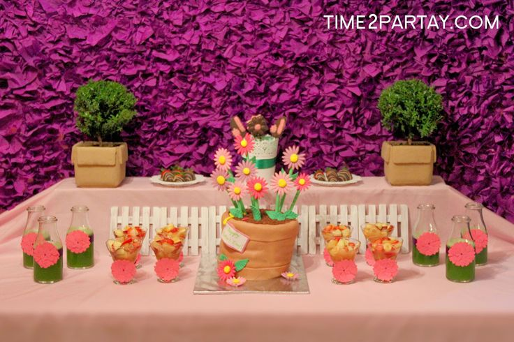 A Spring Themed Mother's Day Dessert Table #mother #mothers #mom #dessert #party #purple #pink #green #floral #flower #flowers #cake #sweets #homemade #plants #pots #background #spring #chocolate #lollipops