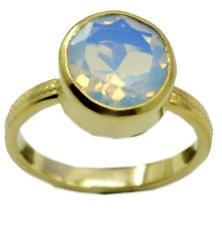 magnetic Fire Opal CZ Gold Plated White Ring suppiler US 6789