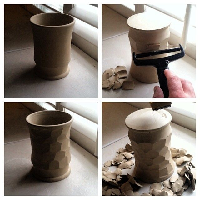 A Vegetable Peeler Helps Make The Faceted Design On This Vase Studio Tour Of Kirkwood Clay Pottery Based Of Our Greensboro North Carolina