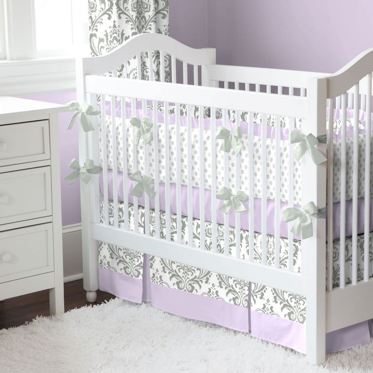 Lilac and Gray Traditions Damask Crib Bedding #carouseldesigns. This is so right up my alley of ideas for a nursery....but with a darker purple :D