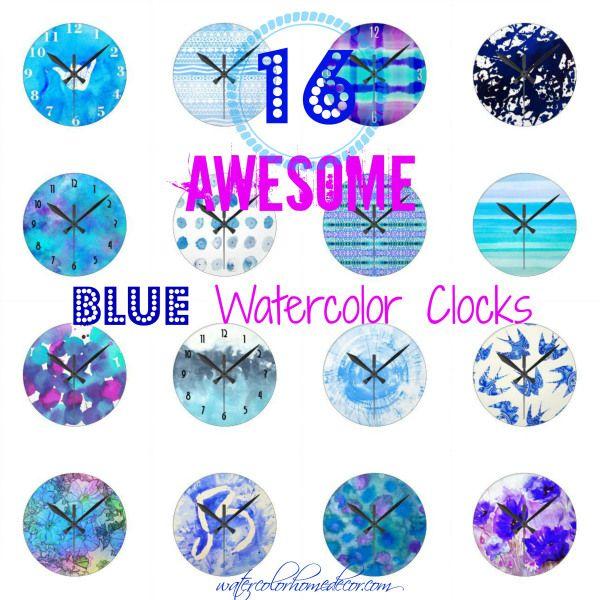 Blue Wall Clocks | Watercolor Home Decor