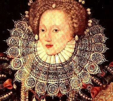 Attributed to George Gower, Queen Elizabeth I (detail), ca. 1588,  Oil on panel,  105 x136 cms.