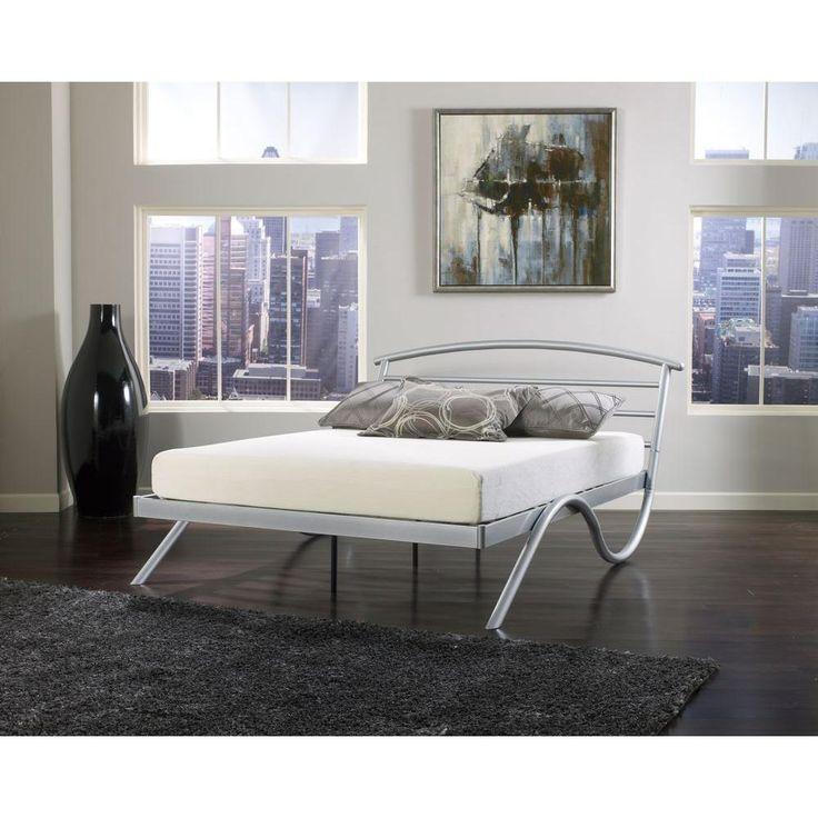 geneva silver queen platform bed - Queen Size Platform Bed