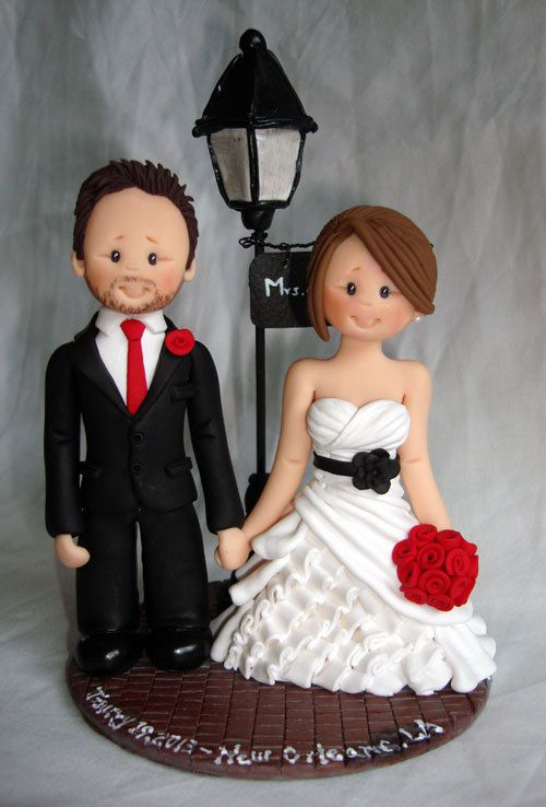 Personalised bride and groom wedding cake topper-Taking orders for May 20, 2013 onwards Only- Fully booked through up till mid May 2013. $150.00, via Etsy.