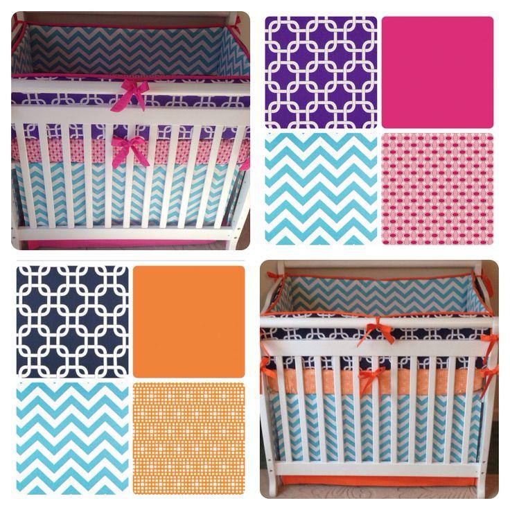 girl boy twins crib bedding for mini cribs pink aqua purple navy and orange many colors. Black Bedroom Furniture Sets. Home Design Ideas