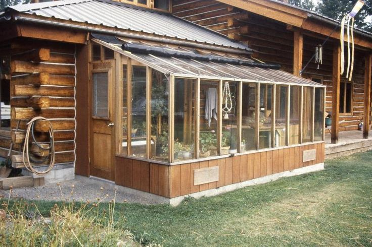 Garden sun room greenhouse (8x16) attached to a log cabin