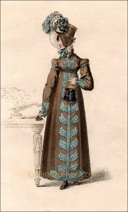 """Feb1818. Fawn-coloured poplin round dress  the sleeve is long, rather loose. Bust is trimmed to correspond & skirt is finished round the bottom by three rows of satin pipings. Over the dress is worn a pelisse composed of fine fawn-coloured cloth, and lined with white sarsnet. Limerick gloves, and half-boots composed of fawn-colored kid."""""""