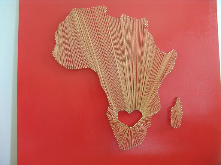 Orange Gold Nail String Art- Heart in South Africa by PurelySublime on Etsy