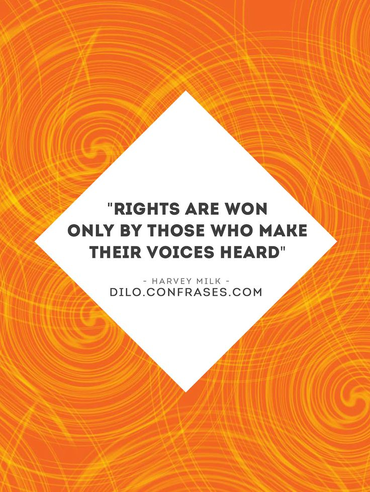 """Rights are won only by those who make their voices heard""  Harvey Milk"