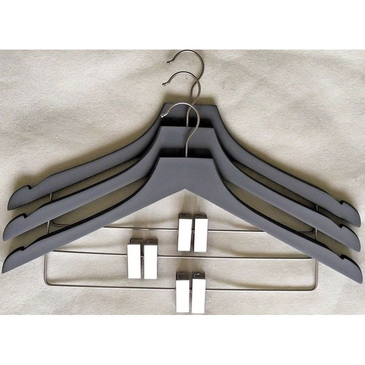 Closet Spice Rubber Felt Wood Suit Hangers with Clips - Set of 3 - Gray, Grey