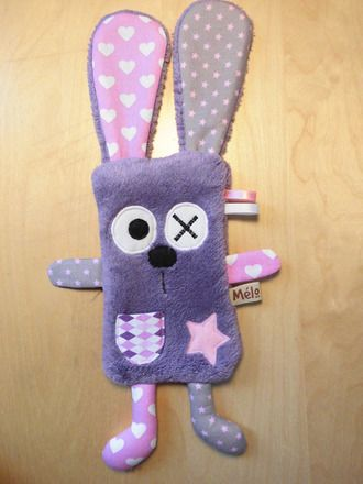 Doudou Rabbit Flat - purple and pink: games, plush toys, stuffed animals by melomelie