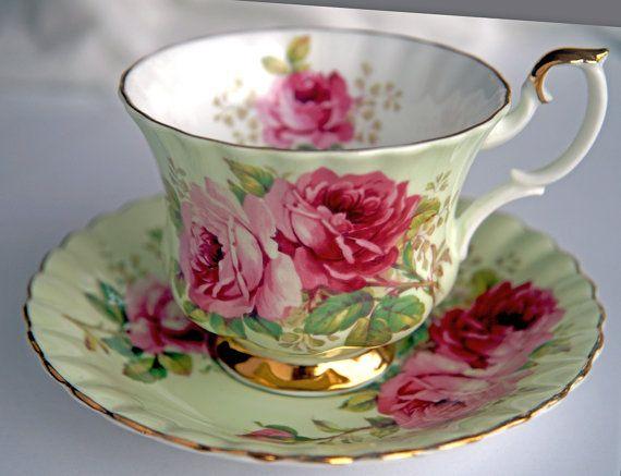 Vintage, tasse à thé, Royal Albert, tasse à thé et soucoupe, tasse à thé Mug, Vintage, porcelaine, Set Floral, Tea Party, fabriqué en Angleterre, tasse de thé vert Plus