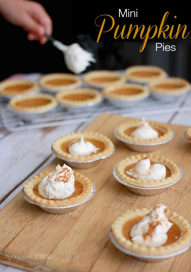 Mini Pumpkin Pies are easy to make and nicely individual so you can freeze bathes and enjoy anytime you like! A perfect Fall treat to make and share with others!