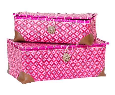 Set di 2 scatole decorative in foglie di palma rosso e rosa Cas, 16x38x25 cm