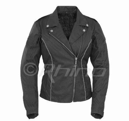 Ladies Cordura Motorcycle Jacket in Brando Style with Removable Armour