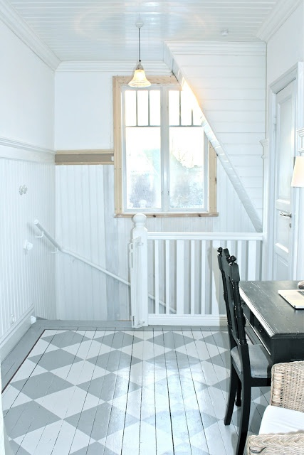 Planked walls painted white are a great solution to cover up or just to add character. The painted floor is rather special though not sure about using dark wood furniture.