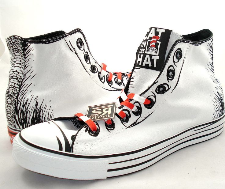 New Converse DR. SEUSS CAT IN THE HAT All Star Chuck Taylor White Red Shoes  #Converse #FashionSneakers
