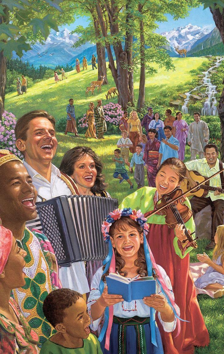 Pessoas cantando, tocando instrumentos musicais e usufruindo a vida no novo mundo