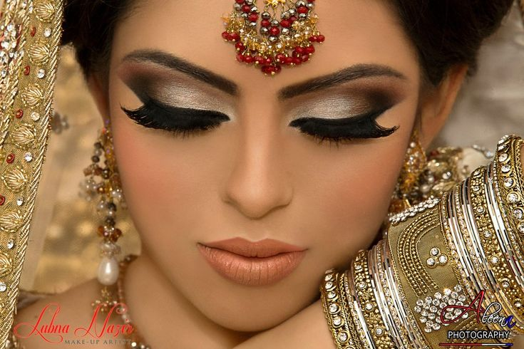 Indian Bride. Lush lashes, smokey eye makeup for a south Asian bride