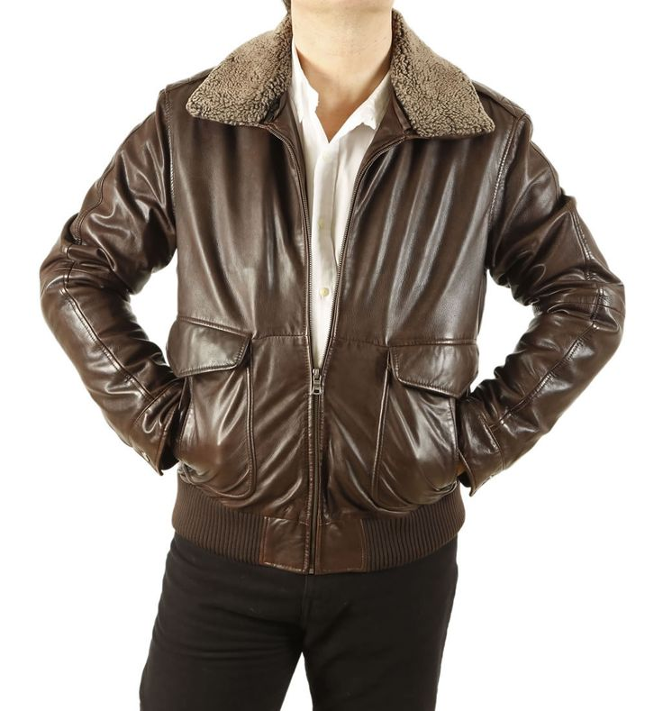 SL10010 - Mens Premium Quality Brown Leather Flight Jacket