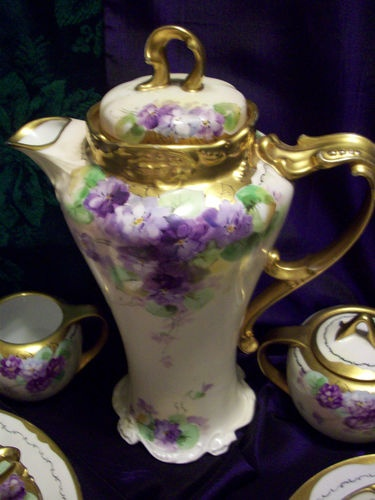 Antique Limoges Professionally Hand Painted Chocolate Pot Set