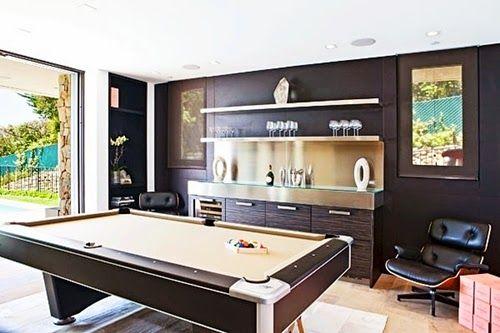 Modern Billiard Room Design with Wood Tile Floor and Sliding Door