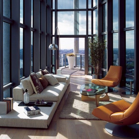 loving the seating and placement for enjoying such an outstanding view!: Spaces, Dreams, Window, Living Rooms Design, The View, Interiors Design, High Ceilings, House, Cities View