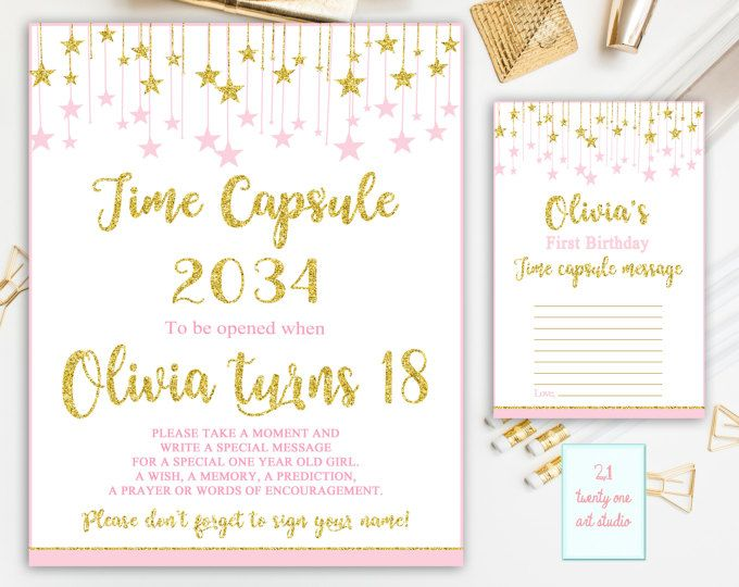 Twinkle Twinkle Little Star Time Capsule Sign, Pink and Gold Time Capsule Sign First Birthday, Time Capsule + Matching Note Cards