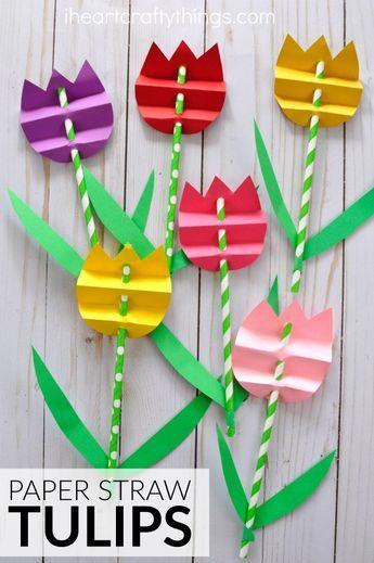 Pretty paper straw tulip craft for kids, perfect for a spring kids craft, spring flower craft for kids, flower kids craft and kid-made Mother's Day Craft.