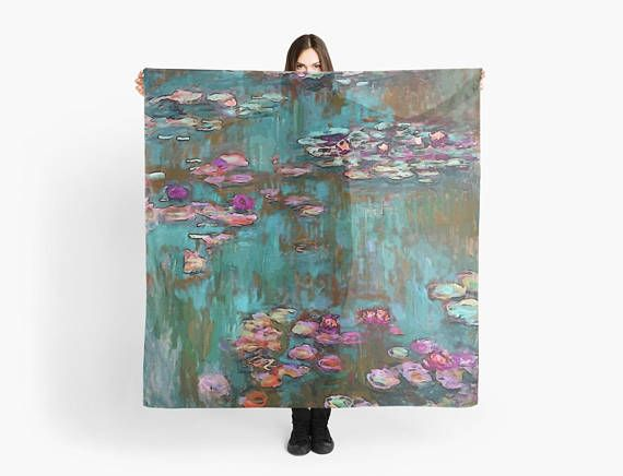 Scarf Monet / Water Lillies scarf/wrap Foulard carré