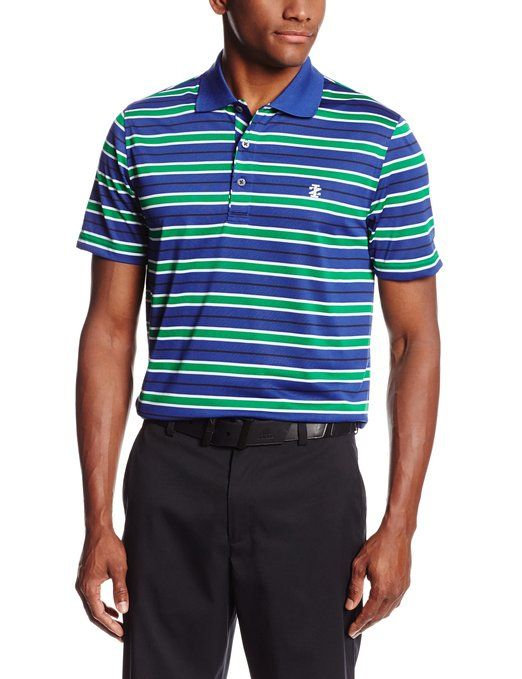 Made from 100% polyester this fine looking mens short sleeve feeder multi stripe golf polo shirt by Izod offers UV sun protection and moisture wicking technology