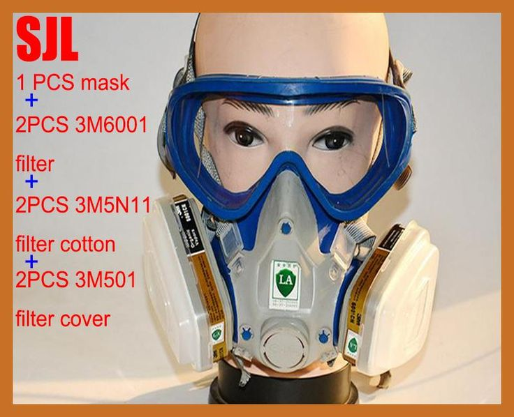 SJL Silicone respirator gas mask pesticide pintura full face carbon filter mask paint spray gas box protect mask