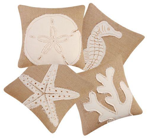 Baños Estilo Nautico:Beach Style Pillow Burlap