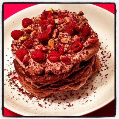 Chocolade pavlova met frambozen