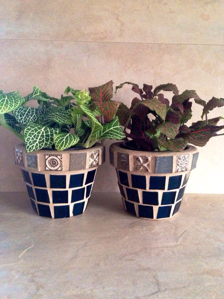 Small planter set, mosaic succulent planters, blue glass
