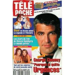 """George Clooney : """"Pourquoi je quitte Urgences"""", dans Télé Poche n°1654 du 20/10/1997  [couverture et article mis en vente par Presse-Mémoire]"""