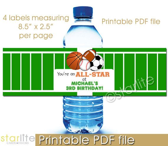 Personalized Sports Bottle Labels: 58 Best Images About Sports Party On Pinterest